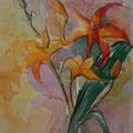 """Aquarell """"Lilien"""" von Diplom Designerin Brigitte Weiand"""
