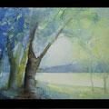 """Aquarell """"Am Fluss"""" von Diplom Designerin Brigitte Weiand"""