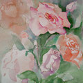 """Aquarell """"Rosen"""" von Diplom Designerin Brigitte Weiand"""