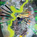 Bildstein | Glatz, <i>Oh no! (Flug 401)</i>, 2012, Öl, Acryl, Lack und Phosphor auf Holz, 105 x 142,5 cm