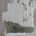 Sommernachtstraum II - 31x24 cm - antikes Papier, Foto,Nähgarn auf Naturleinwand