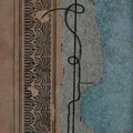 Serie - Timelines Nr. I - 15,5x9,5 cm - antikes Papier, Nähgarn auf Karton