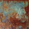Verknotet - 40x40 cm - Rost,Kupfer,Draht,Acryl auf Leinwand