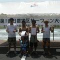 ロングボードファイナリスト!右から1位タクマ、2位中田さん、3位シン、4位栄ちゃん
