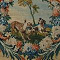 Paravent de la Savonnerie, détail, cartouche fable d'Esope, Les deux chiens. Ph. Y.F.