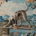 Paravent de la Savonnerie, détail, cartouche fable d'Esope, Le chien et la viande. Ph. Y.F.