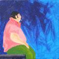 Raucher im Blau Acryl auf Leinwand • 15x15 cm