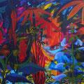 Mein wollüstiger Garten • Blaue Blume Acryl auf Leinwand • 100x120cm