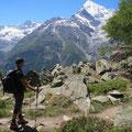 Nur noch ein paar Schritte bis zur Europahütte - im Hintergrund das Weisshorn