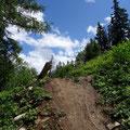 Drop in der neuen Downhillstrecke vom Sunnbühl nach Kandersteg