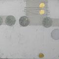 Öl, Grafit, 22 Karat Blattgld auf Leinwand, 40 x 30 cm