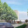 CLERMONT-FERRAND (63) / Aménagement du paysage du Tramway nord/ 2002-2005 / Ville de Clermont-Ferrand / Mandataire : R.GOURDON arch. / Surface : 4,5km emprise 40m / Budget : non défini / Mission AVP/PRO/VISA L.DUFOUR pour Ingénieurs&Paysages