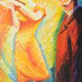 """""""Inspiration 1980"""", 146x89cm, Acrylique sur toile, de Grethe Knudsen, Paris, 2002.Serie: Tanz-Theater Wuppertal - Pina Bausch, le danseurs Lutz Förster et Barbara Hampel , dans """"1980"""", créée en 1980."""