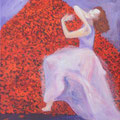 """""""Solo de Nazareth - Devant la Montagne des Roses"""" 81x65cm, Acryl sur toile de Grethe Knudsen, Paris, 2010. Serie: Tanz-Theater Wuppertal - Pina Bausch, la danseuse Nazareth Pandero , dans """"Der Fensterputzer"""", créée en 1997."""