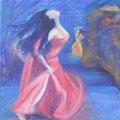 """""""Danse Nocturne"""" 81x65cm, Acryl sur toile de Grethe Knudsen, Paris, 2009. Serie: Tanz-Theater Wuppertal - Pina Bausch, la danseuse Silvia Farias, dans """"Vollmond"""", créée en 2006 ."""