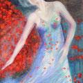 """""""Danse de la Rose"""", Collection privé, 146x89cm, Acrylique sur toile, de Grethe Knudsen, Paris, 2006. Serie ; Tanztheater Wuppertal - Pina Bausch, la danseuse Azus Seyama, dans """"Der Fensterputzer"""", créée en 1997"""