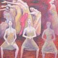 """""""Le Sacre du Printemps"""", Triptyque - à droit: """"Danse des femmes"""", 89x80cm, Acryl sur toile, de Grethe Knudsen, Paris, 2010. Serie : Tanztheater Wuppertal - Pina Bausch, Les femmes du l'ensemble, dans """"Le Sacre du Printemps"""", créée en 1975"""