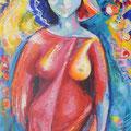 « Femme d'été », Acrylique sur toile, de Grethe Knudsen ,146 x 89cm, 2004