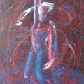 """""""Le Maitre-Pirouette"""", 146x89cm,Acrylique sur toile, de Grethe Knudsen, Paris, 2005. Serie : Tanztheater Wuppertal - Pina Bausch, le danseur Rainer Behr, dans """"Masurca Fogo"""", créée en 1998"""
