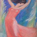 """""""Bamboo Blues"""", 146x89cm, Acrylique sur toile, de Grethe Knudsen, Paris, 2008.Serie: Tanz-Theater Wuppertal - Pina Bausch, la danseuse Silvia Farias , dans """"Bamboo Blues"""", créée en 2007."""