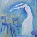 """""""Café Müller, I."""" 81x65cm, Acryl sur toile de Grethe Knudsen, Paris, 2009. Serie: Tanz-Theater Wuppertal - Pina Bausch, La chorègraphe et danseuse Pina Bausch, dans """"Café Müller"""", créée en 1978 ."""