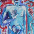 « Homme d'été », Acrylique sur toile, de Grethe Knudsen ,146 x 89cm, 2004