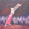 """Le Sacre du Printemps"""", Triptyque - milieu: """"Danse de la jeune sacrifiée"""", 130x89cm, Acryl sur toile de Grethe Knudsen, Paris, 2009. Serie : Tanztheater Wuppertal - Pina Bausch, la danseuse Ditta Miranda Jasjfi, dans """"Le Sacre du Printemps, créée en 1975"""