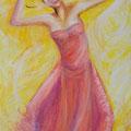 """""""Joie de Vivre"""", 146x89cm, Acrylique sur toile, de Grethe Knudsen, Paris, 2007; Serie : Tanztheater Wuppertal - Pina Bausch, la danseuse Ditta Miranda Jasjfi, dans """" Vollmond"""", créée en 2006"""