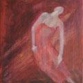 """""""Danse de la jeune Elue"""",41x33cm, Acrylique sur toile, de Grethe Knudsen, Paris, 2009.Serie: Tanz-Theater Wuppertal - Pina Bausch, la danseuse Azusa Seayama, dans """"Le Sacre du Printemps"""", créée en 1978."""