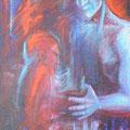 """""""Le Sacre du Printemps"""", 146x89cm, Acrylique sur toile, de Grethe Knudsen, Paris, 2006.Serie: Tanz-Theater Wuppertal - Pina Bausch, les danseurs Ditta Miranda Jasjfi et Andrey Berezin , dans """"Le Sacre du Printemps"""", créée en 1978."""