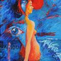 « Heureusement, il y à la mer...et le ciel », Acrylique sur toile, de Grethe Knudsen ,146 x 89cm, 2002