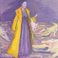 """""""Regina et les Crocodiles"""", 116x89cm, Acrylique sur toile, de Grethe Knudsen, Paris, 2007. Serie: Tanz-Theater Wuppertal - Pina Bausch, la danseuse Regina Advento , dans """"Keuschheitslegende"""", créée en 1976."""
