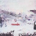 lange weile, landes innern, 2012, Décalcage on wood, 85 cm x 138 cm