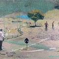 verborgen möcht ich singen leise, 2006, Décalcage on wood,  86 cm x 125 cm