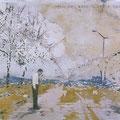 wenn der mensch seine Fassung verliert, 2005, Décalcage on wood, 80 cm x 128,5 cm >original available