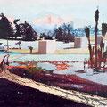 im wesentlichen ist mir die erde, 2007, Décalcage on wood, 85 cm x 138 cm