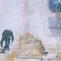 verstecke spiel, 2004, Décalcage on wood, 50 cm x 98 cm