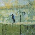 höre: und stecke Worte ein, 2003, Décalcage on wood,  84 cm x 87 cm