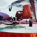 im wesentlichen ist mir die erde, 2007, Décalcage on wood, 85 cm x 138 cm >original available