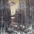 lichtung65, 2008, Décalcage on wood, 130 cm x 205 cm >original available