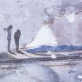 denk am besten gar nicht nach, 2005, Décalcage on wood, 60 cm x 110,5 cm