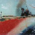 hier stehe ich nun und bin verletzt, 2003, Décalcage on wood,  85 cm x 136,5 cm >original available