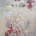 blühe und der duft, 2015, Décalcage on wood, 58 cm x 90 cm