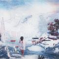blau, das licht in mir, 2012, Décalcage on wood, 130 cm x 205 cm
