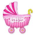 Balon z helem wózek różowy