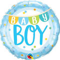 balon z helem baby shower girlanda niebieski
