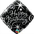 balon czarny happy birthday foliowy