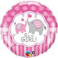 balon baby shower słoniki różowy