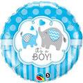 balon baby shower słoniki niebieski