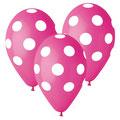 balon z helem grochy różowe